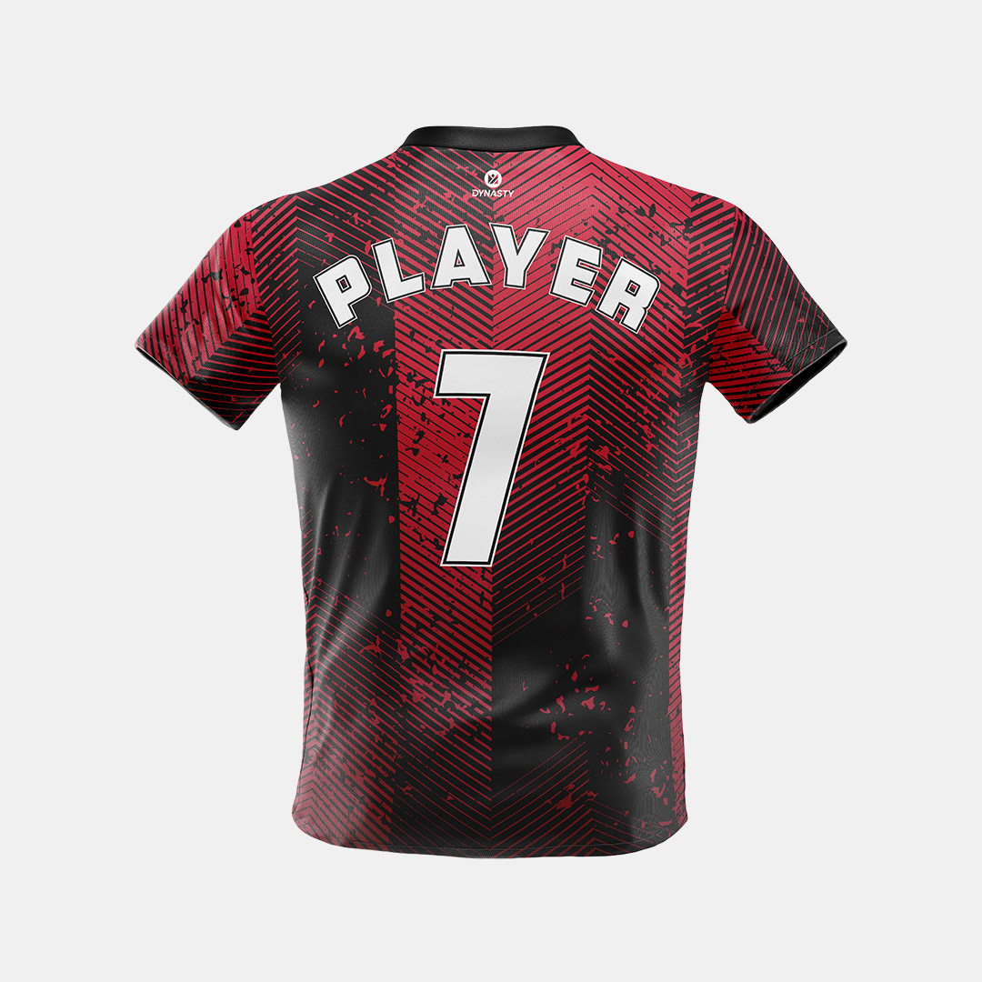 Dynasty Athletics Mens Sublimated Soccer, Futbol Jersey Monarch Red and Black Front