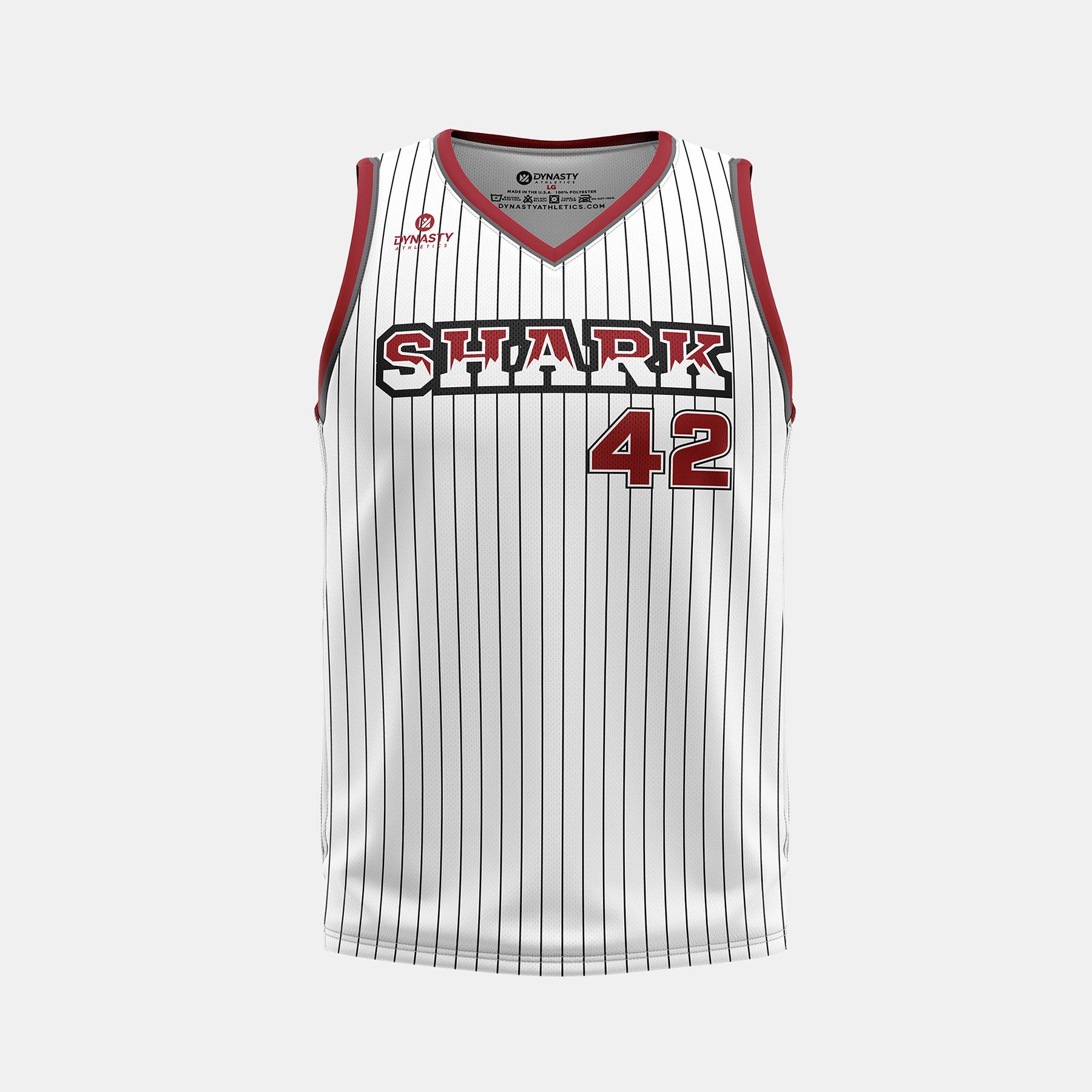 Dynasty Athletics Shark VNeck Basketball Jersey Away Front