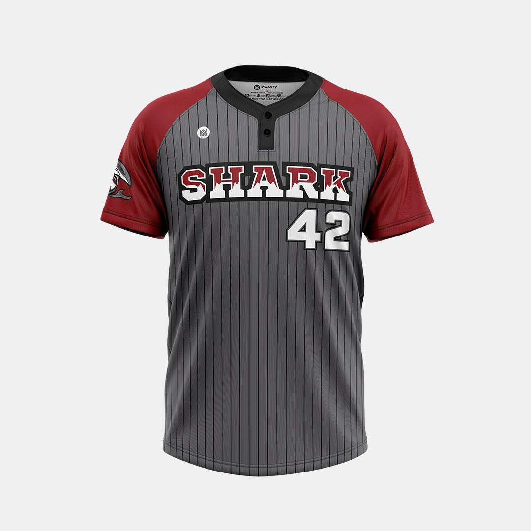 Dynasty Athletics Sublimated 2 Button Baseball Jersey Shark