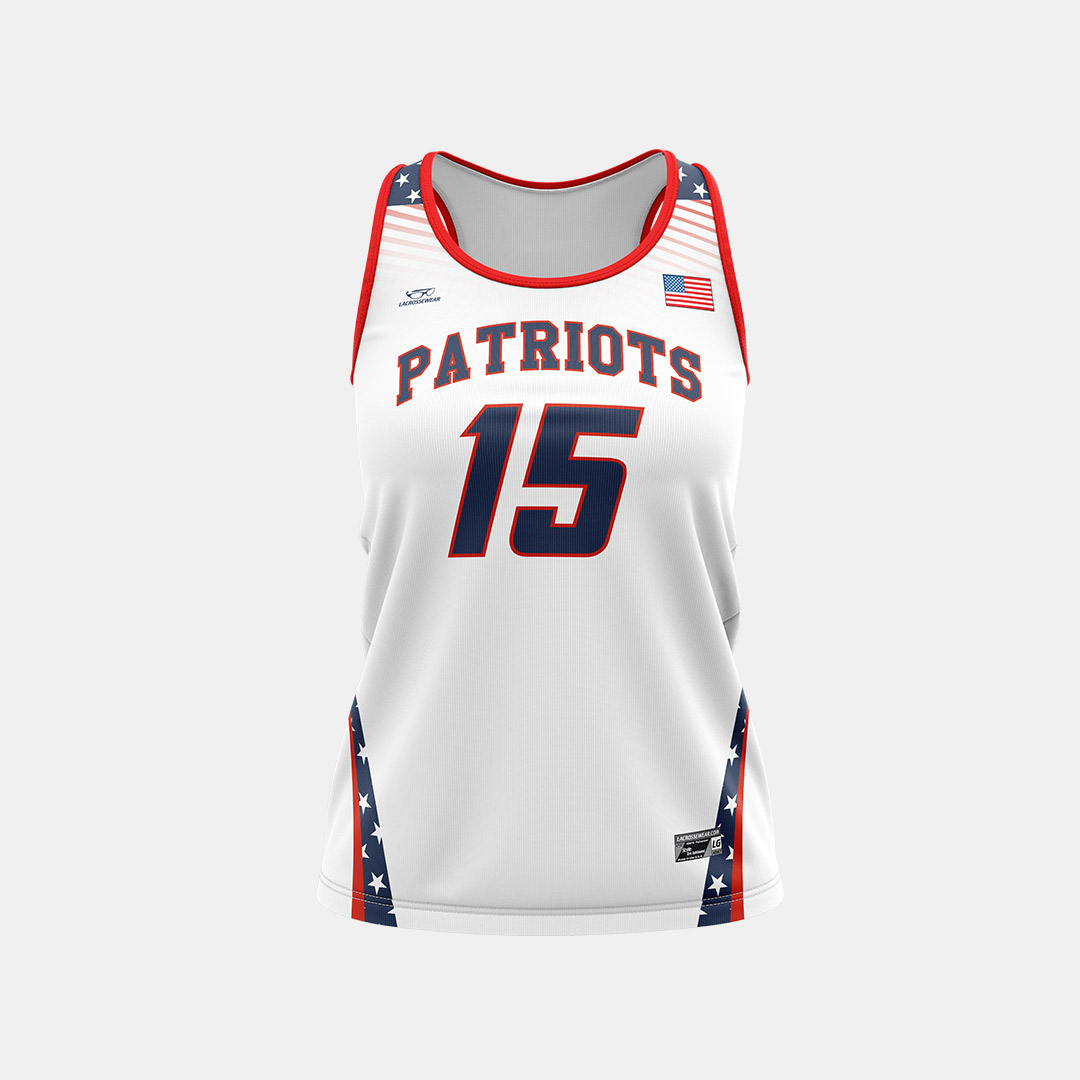 Lacrossewear Sublimated Racerback Jersey Front Patriots