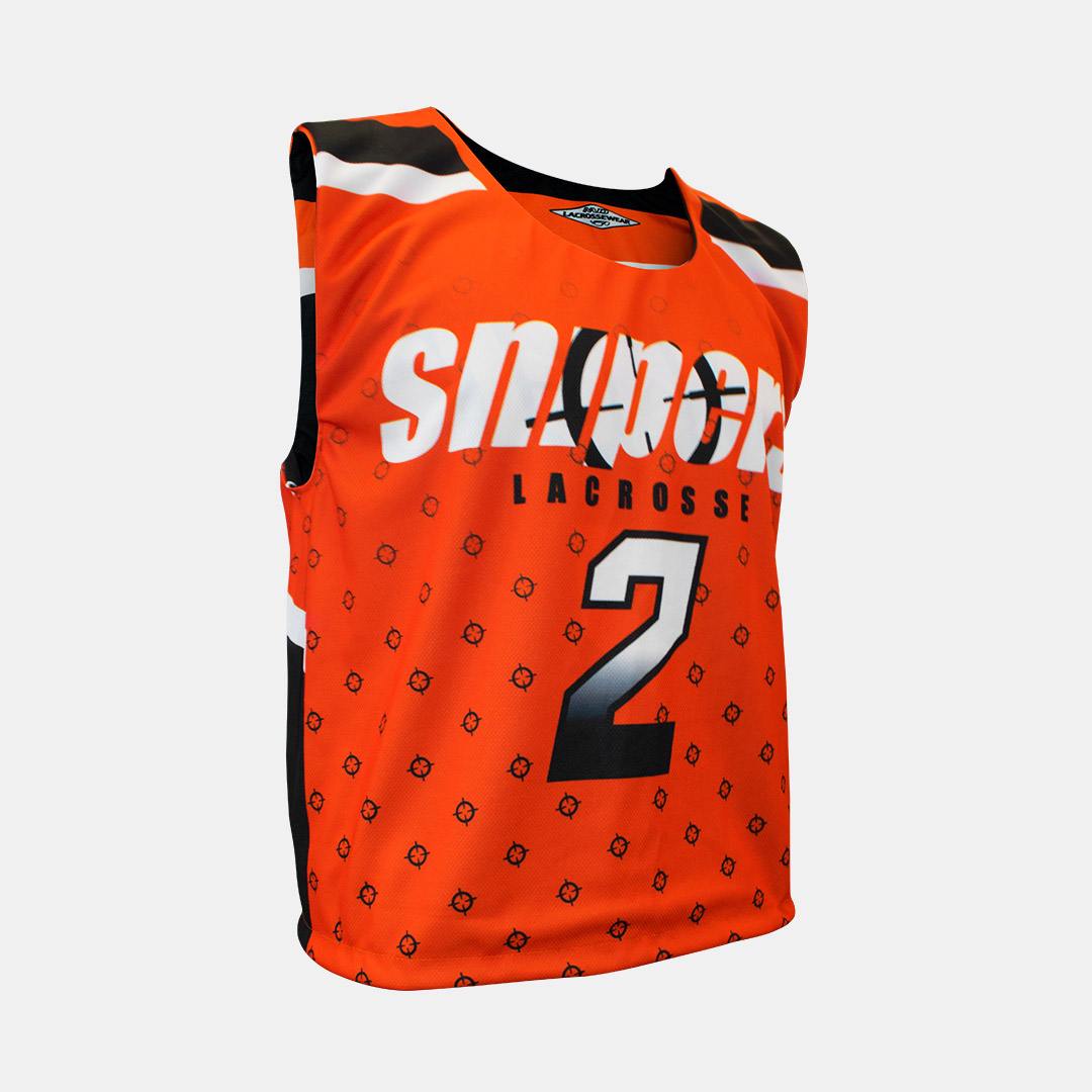 Lacrossewear Sublimated Rev Jersey Snipers Orange Front