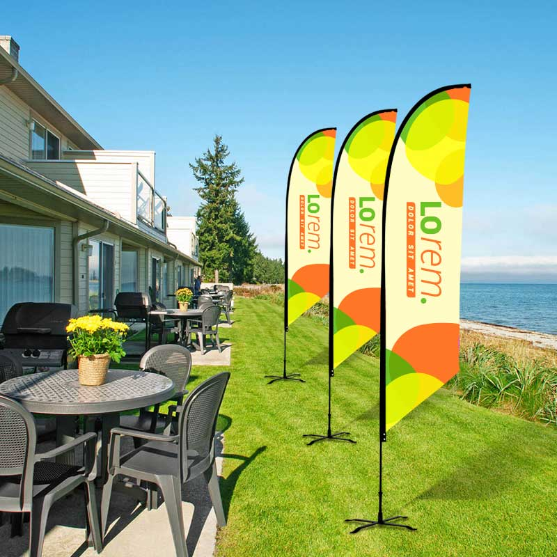 Custom Tent Covers Feather Flag Display Outisde